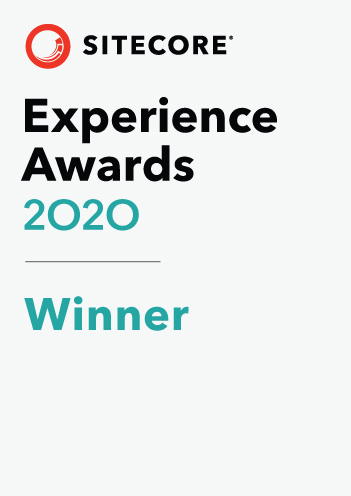 Badge showing the RBA is the winner of the 2020 Sitecore Experience Awards.